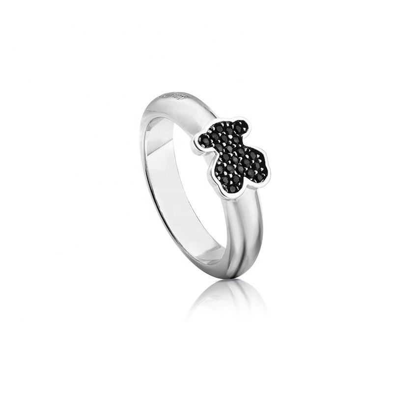 Fashion Jewelry Anillo Gen de Plata Black Spinel Ring Classic 925 Silver Bear Female Ring