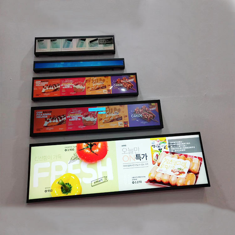 24Inch Uitgerekt Bar Lcd Reclame Display, Bus Video Wandmontage Digital Signage, Totem Lcd Display