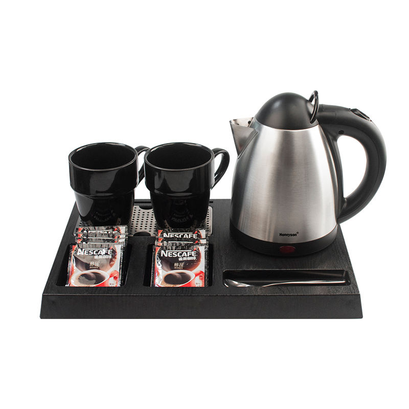 Honeyson hotel small cordless stainless steel electric kettle with tray set