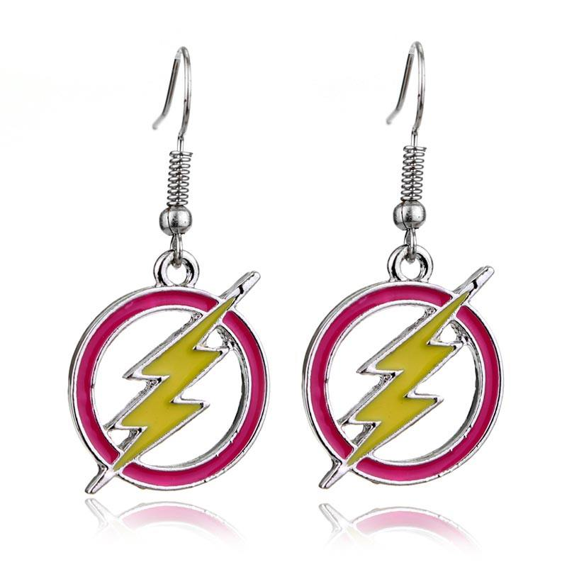 Grosir DC Flash Klasik Petir LOGO Drop Anting-Anting