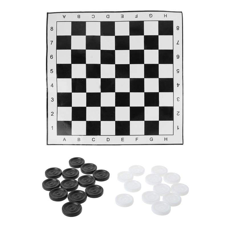 Kinderen En Familie Indoor Board Game Draagbare Internationale Schaken <span class=keywords><strong>Checkers</strong></span> Opvouwbare Tocht Wit & Black Board Game