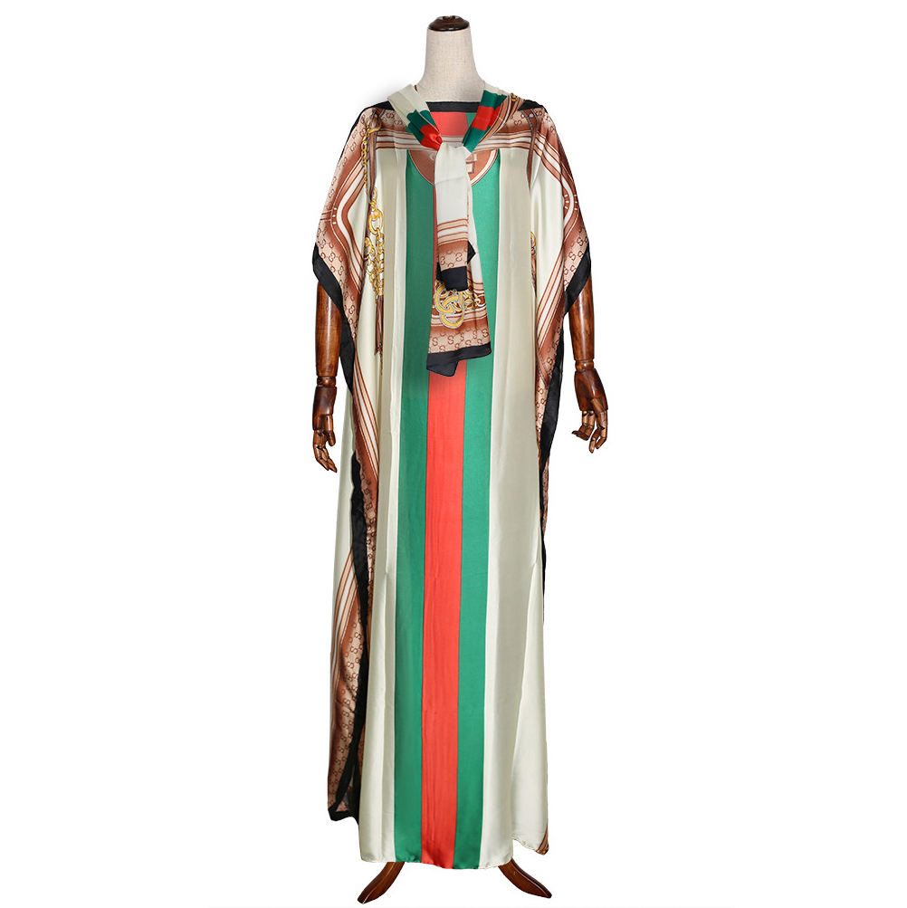 Traditional African Custom Clothing Muslim Abaya Islamic Robe Silk Fabric Printed Collar With Turban Dashiki Dress Women Kaftan