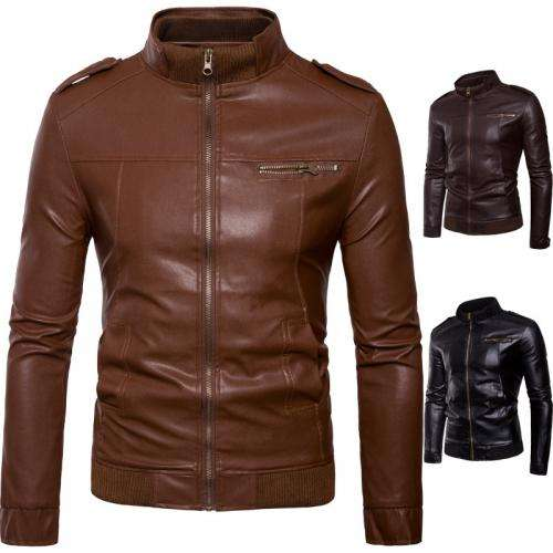 418492 Cowhide Slim Motorcycle Jackets, Different Size For Choice Men Leather Coat