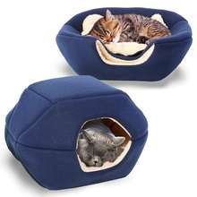Cat supplies at Cave Cat Bed Small Dog Bed, 2-in-1 foldable soft warm washable pet bed with a pillow.