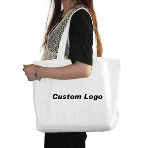 Promotional Eco Friendly Large Custom Blank Canvas Grocery Shopping Tote Bag With Logo Print
