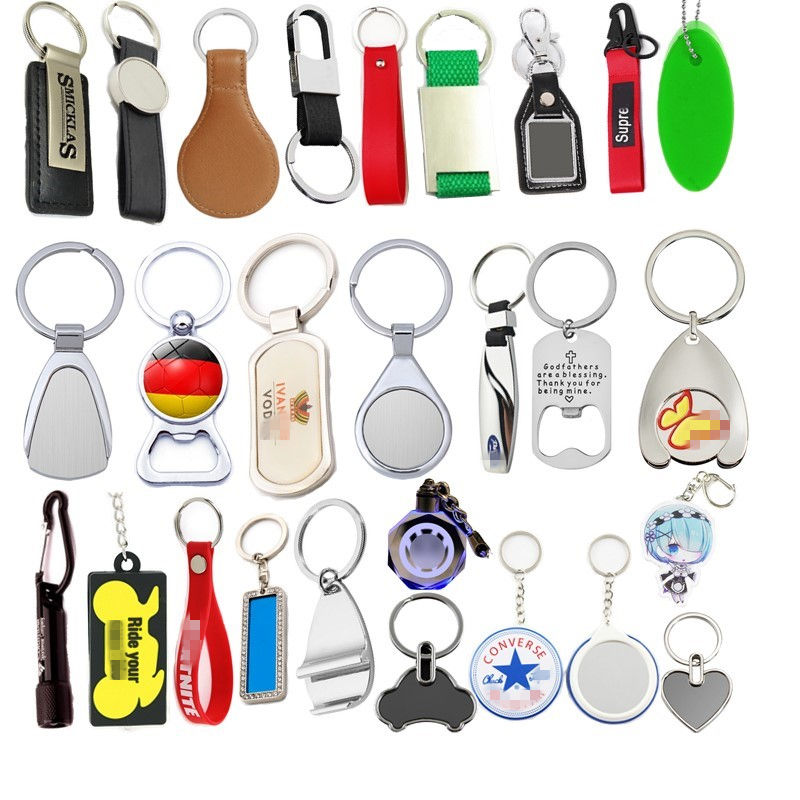 Promotional Gift Keychain Cheap Custom Logo Metal Leather LED Acrylic Silicone Wood Crystal Print Keyring Car Promote Key Chain