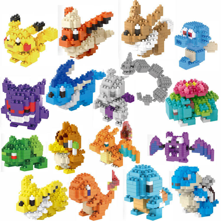 144pcs nano blocks legoed mini action figures pokemon series box sembo blocks kids items Building Blocks Figures diy toys