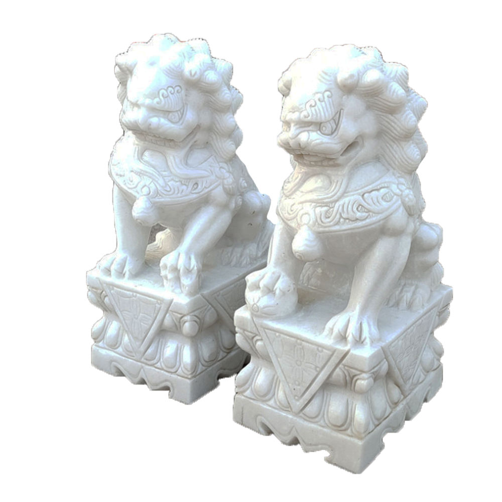 China Stone Factory made Classic Design Stone Marble Foo Dog Statue chinese lion