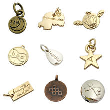 Roundness gold pendant making engraved logo custom charm jewelry tags for necklaces