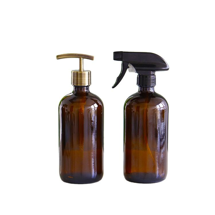 Skin Care 500ml Amber Round Shampoo Glass Bottle with Pump Spray for Essential Oil