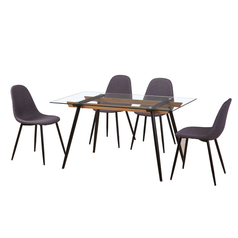 Cheap dinning furniture restaurant modern 6 chairs room glass dining table set