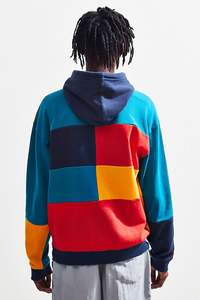 2021 custom oversized long sleeve fashion streetwear colorblock men's knit color block hoodie sweatshirt