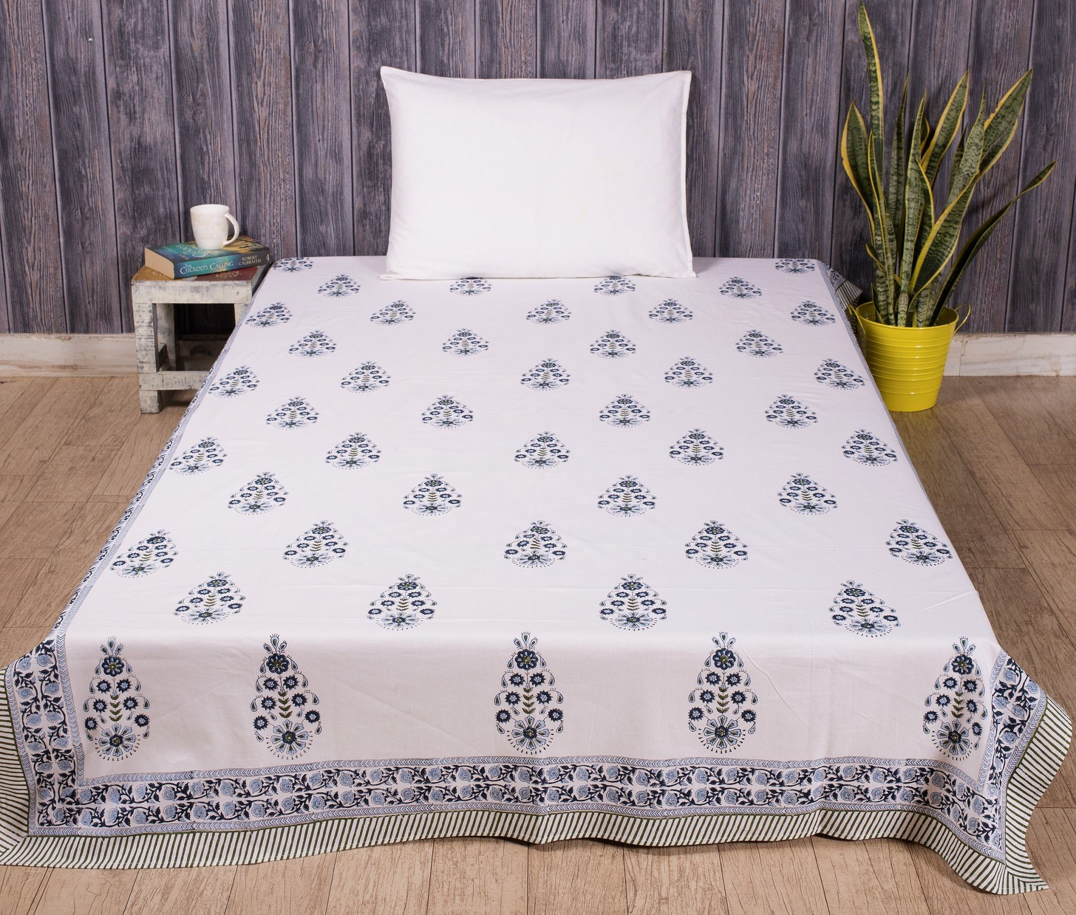 Cotton bed sheet famous hand block print designs Printed bedding sheet in twin size