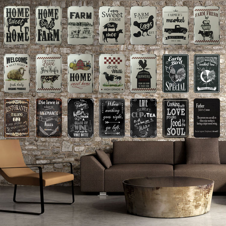 Bar Metal Plaque Metal Art Poster Vintage Wall Decor Tin Sign 20x30CM Farm House Enamel White Metal Sign