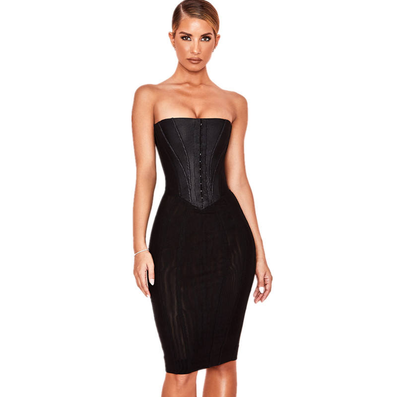 2020 fashion black boned corset casual dresses Women Sexy Bodycon Dress wholesale women clothing OEM