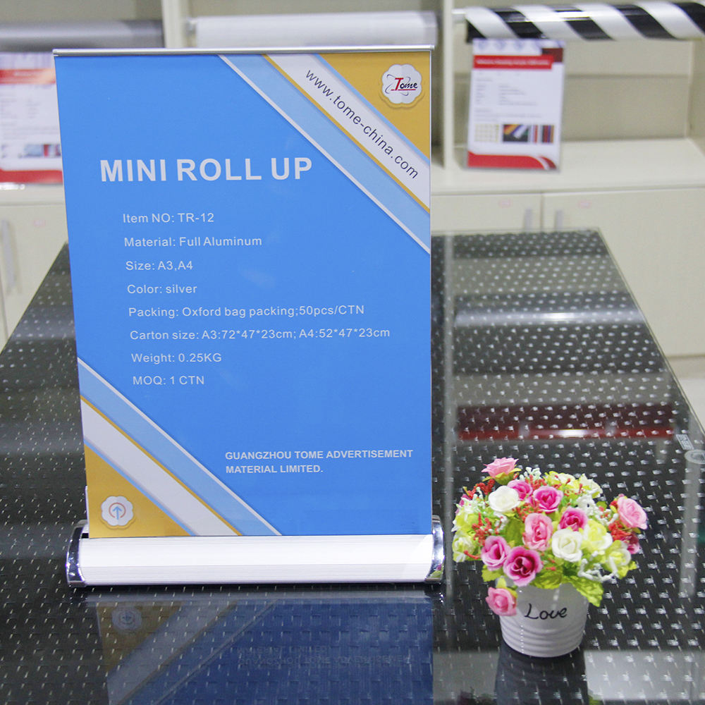 Mini Size A3 A4 Roll Up Banner Desktop Display Rack Aluminium Pull Up Banner