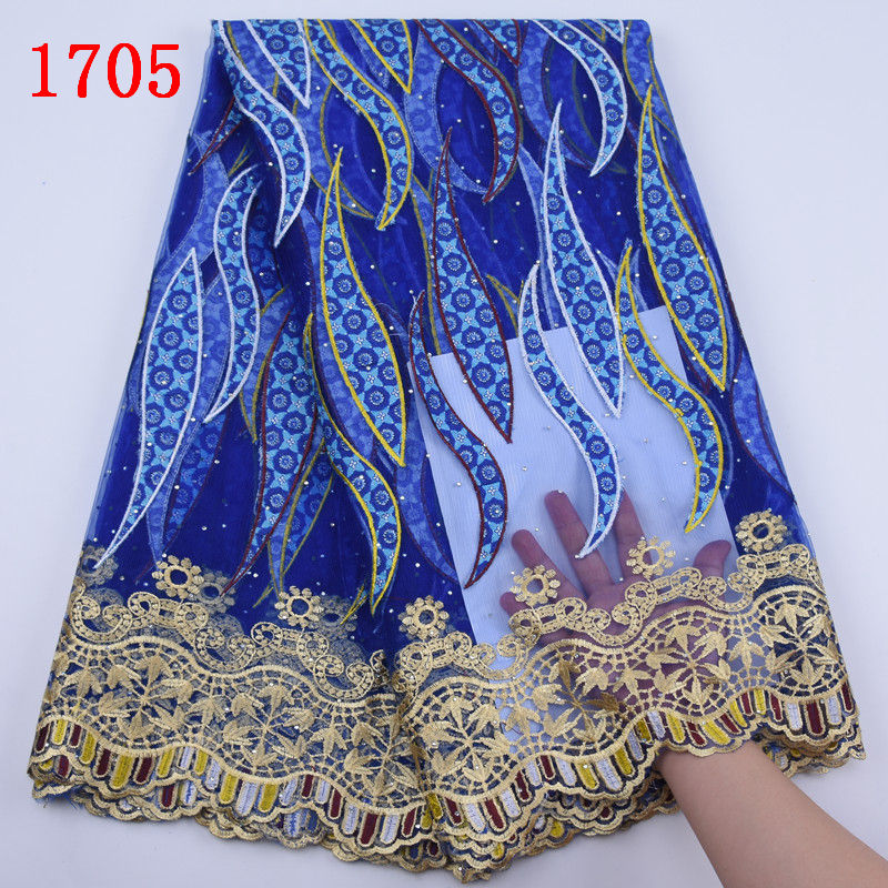 Latest Design African Guipure Wax Fabric With Lace 2019 Nigerian Prints Beads Wax Lace High Quality Embroidered Lace Fabric 1705