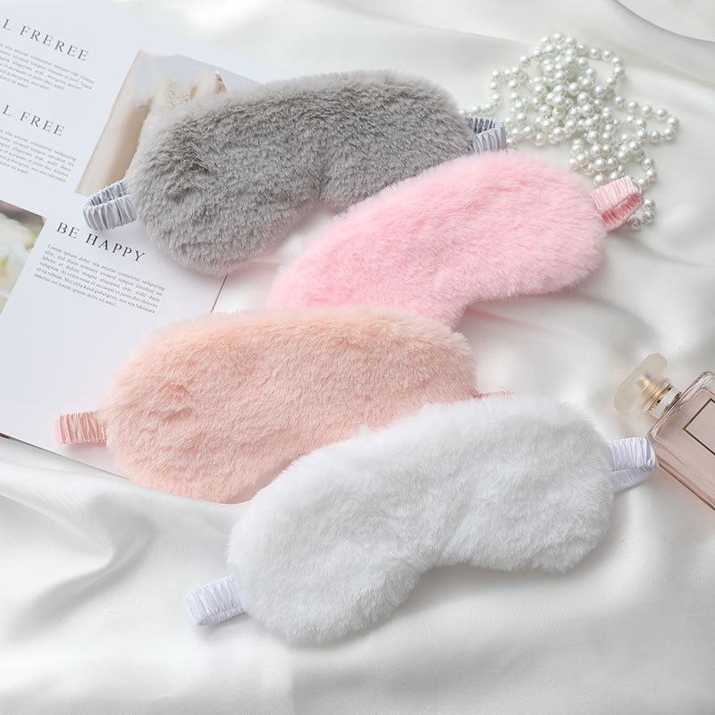 RTS Luxury Adults Silk Satin Imitation Rabbit Fur Eye Sleep Mask