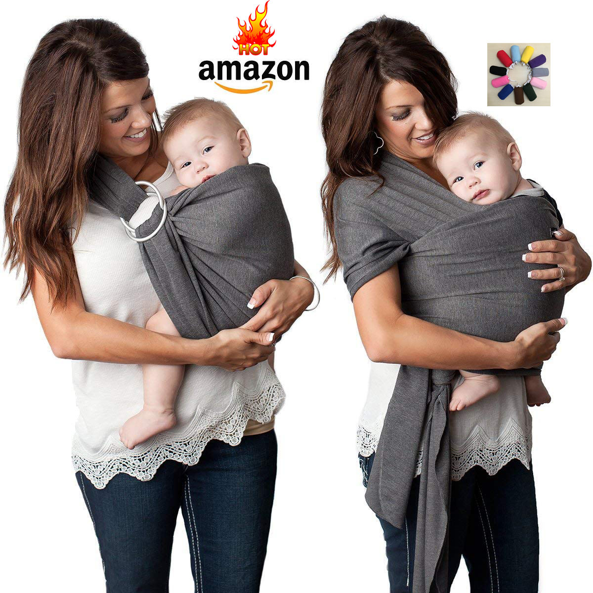 Hot sale high quality custom logo muslin cotton baby wrap carrier