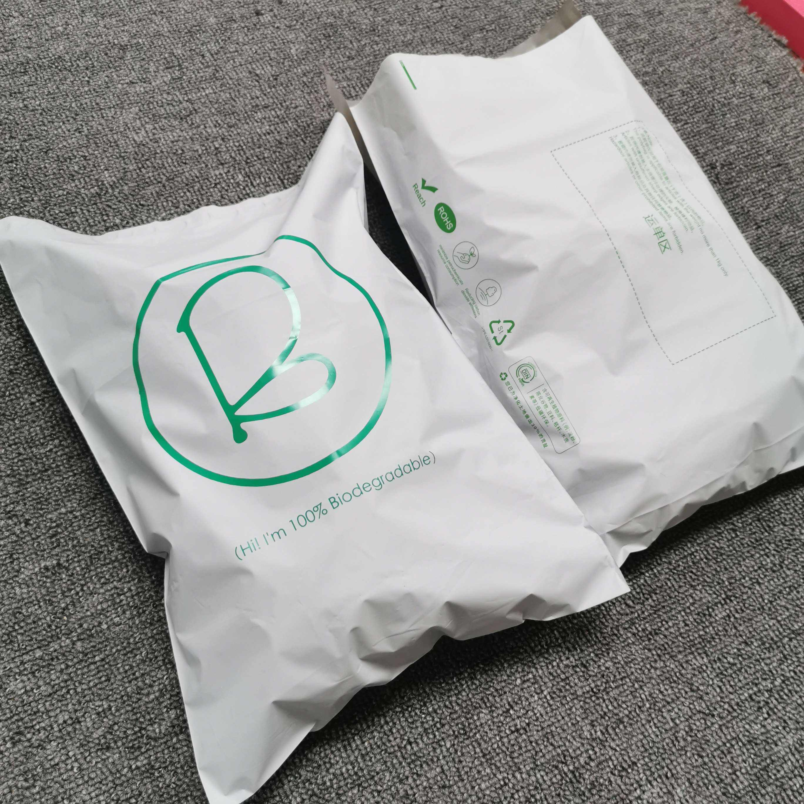 Amazing perfect quality free design & free sample offer compostable mailing bags Corn starch delivery bag