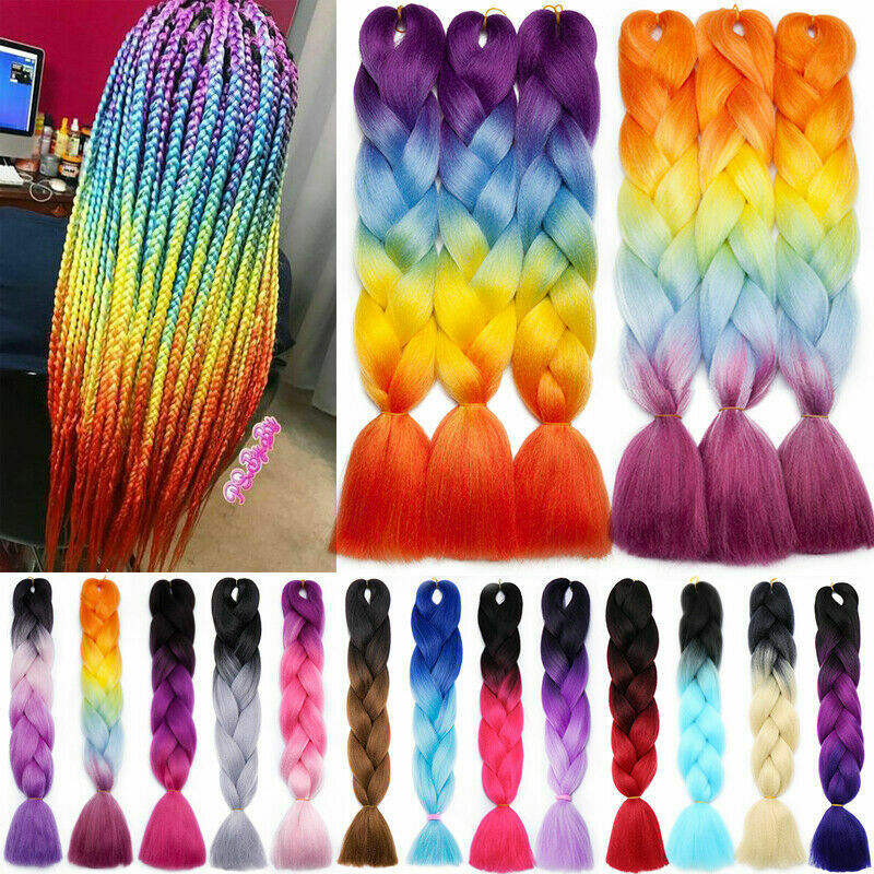 Jumbo Braiding Hair Extensions Plaited Box Braids Ombre Rainbow For Women