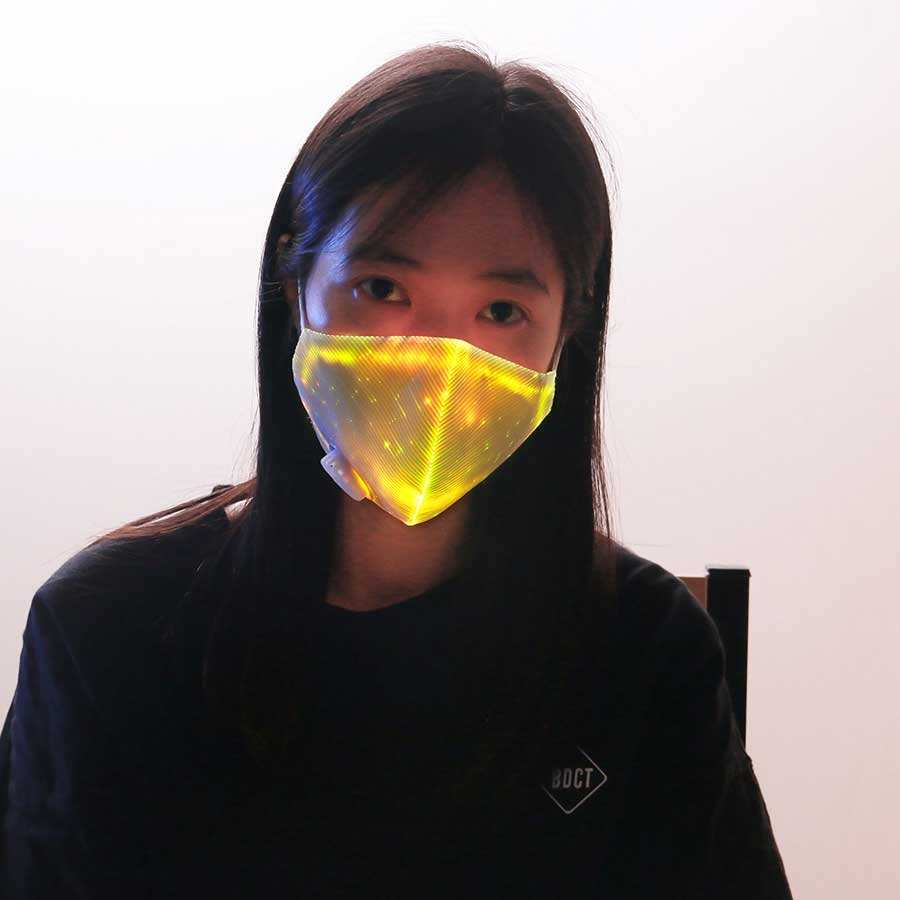 Breathable hot Sale Custom Halloween Party Celebration face mask with led light rave mask led
