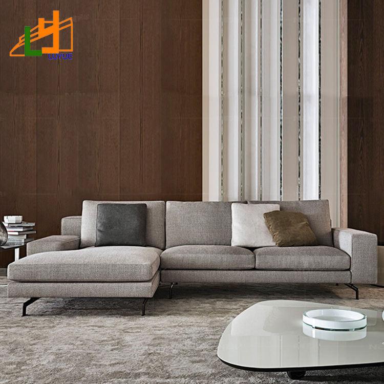 Sofá de tela de diseño moderno en forma de l para el hogar