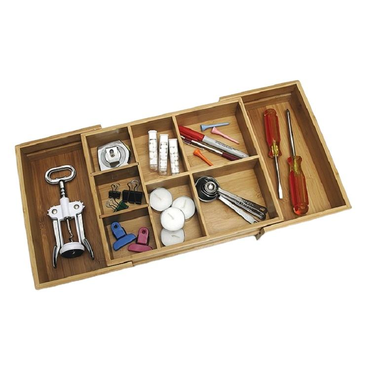 Expandable Bamboo storage box kitchen container with multi-compartments wooden storage organizer drawer box for kitchen