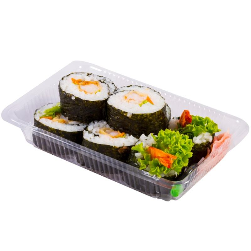 Disposable clear rpet material rectangle disposable plastic sushi tray