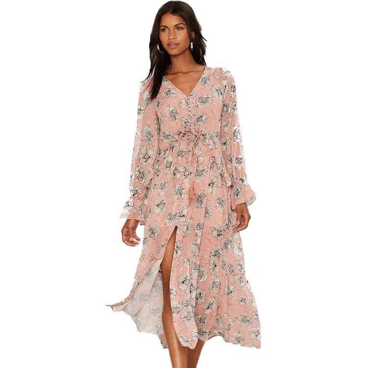 Autumn Fancy Loose Sexy Tropical Floral Print V-neck Casual Beach Chiffon Dress For Women