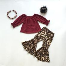 fall/winter baby girls children clothes set outfits boutique leopard milk silk wine ruffles top pants cotton match accessories