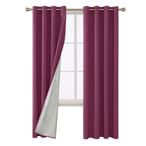 Washing Polyester Purple Thermal Insulated Total Blackout Fabric Curtains Drapes for Kids room Meeting Room Dining Room Bedroom