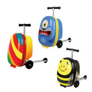 costom design 3D trolley children luggage scooter airport kids travel trolley luggage with scooter