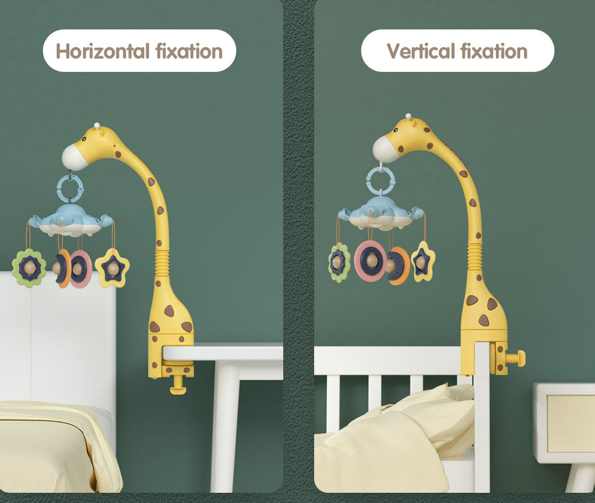 Tumama top sale 360 rotation Newborn Infant hanging giraffe crib toys musical Baby Mobiles