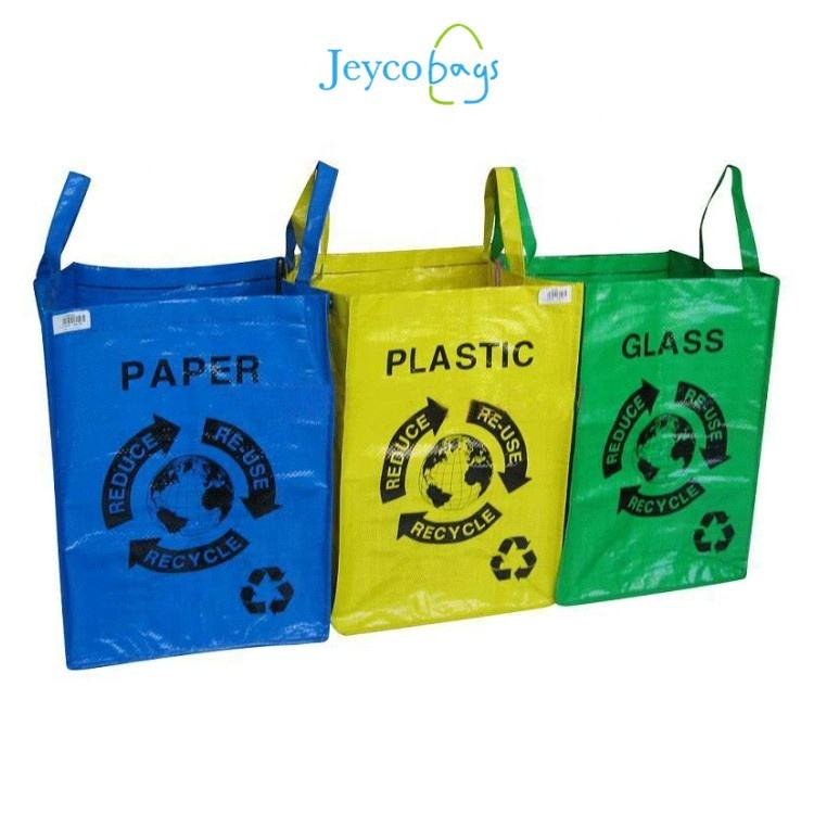 Sedex 4P JEYCO BAGS China manufacturer strong large capacity pp woven garbage sorting recycle bag with tote