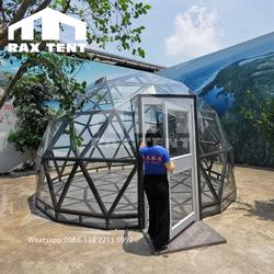 Fully transparent 5M glass dome tent for luxury hotel tent, resort and restaurant with aluminum alloy frame and tempered glass