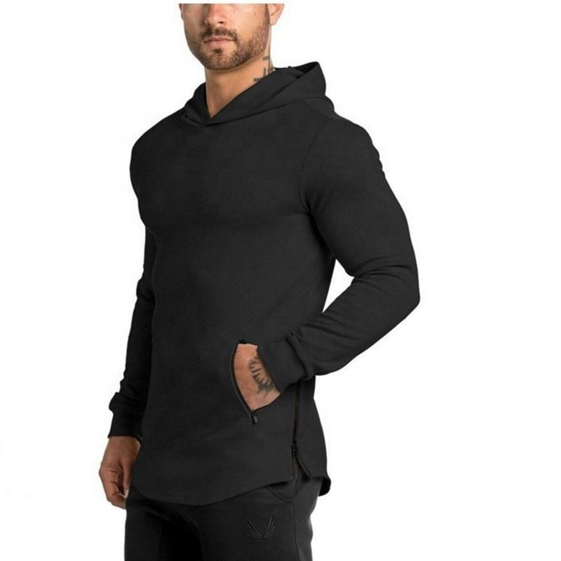 2021 Custom Pure Color 100% Cotton hoodies Men Fitness Coats Athletic gym Wear Workout Sports Hoodie unisex sweatshirt