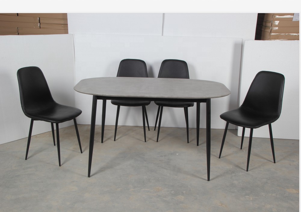 Dinning Set Modern Mdf Dinning Room Table Set With 4 Pu Cushion Chairs