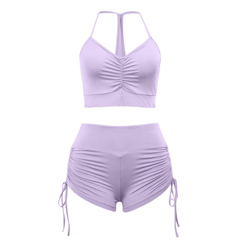 Plain Spaghetti Yoga Set Crop Top Seamless Yoga High Waist Shorts Gym Yoga Set