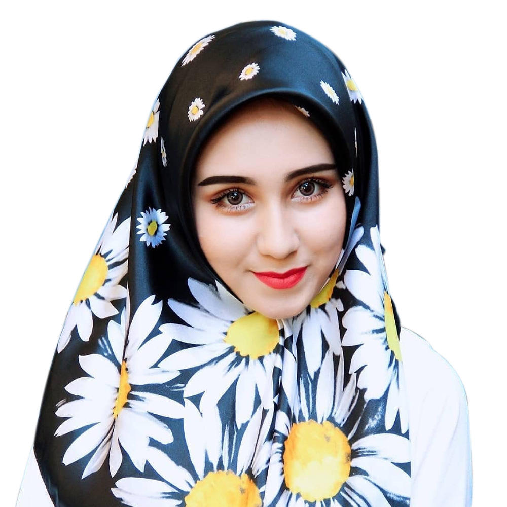 Silk Print Large Square Scarf Tudung Satin 90*90cm Malaysia Hot-selling Turban Multi-style Multi-printing Spot Silk Scarf Esarp