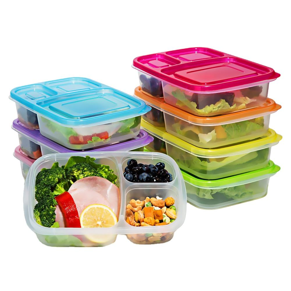 NBRSC stackable plastic Meal prep 3 compartment food container