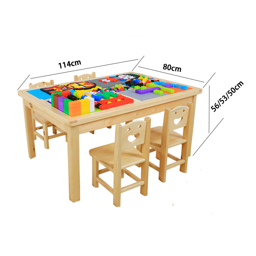 Children study and play wood lego table children tables with chairs for kids