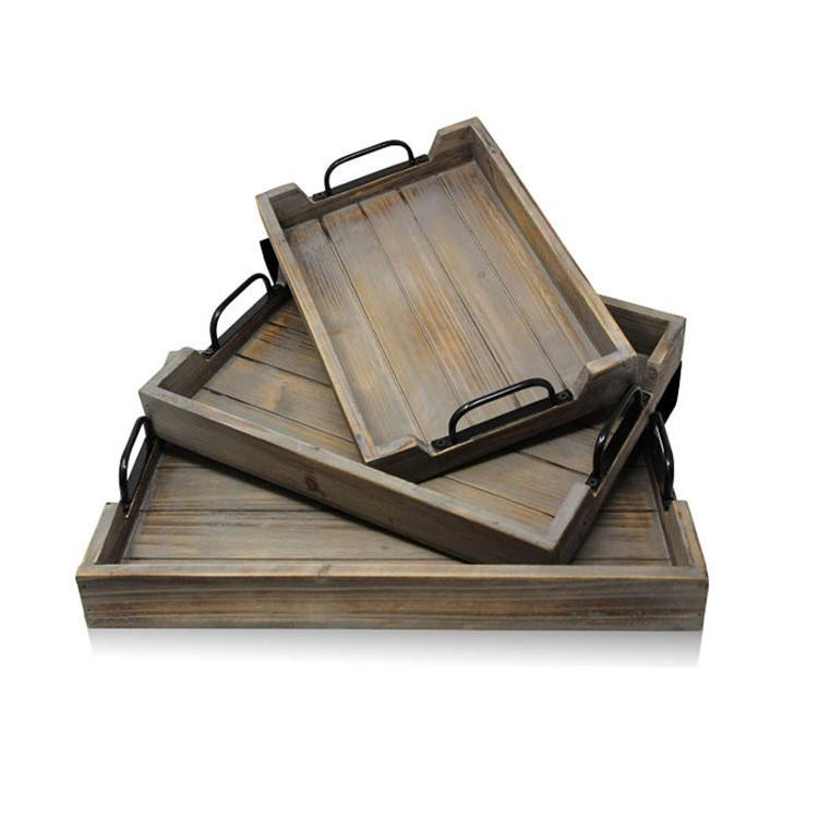 Set of 3 coffee shop decorative service extra large wooden trays with handles