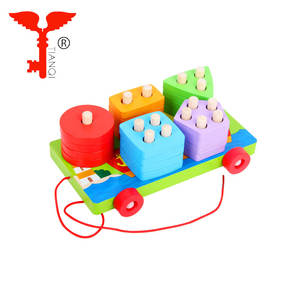 Wooden Geometry Matching Five Sets Of Columns Children's Early Education Shape Recognition Intelligence Building Blocks Toys