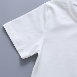 In stock 100% cotton custom logo boy's t-shirts kids white plain t shirt