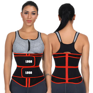 Custom Logo New Workout Lose Weight Tummy Control Shaper Compression Double Belt Women Neoprene Waist Trainer Corset