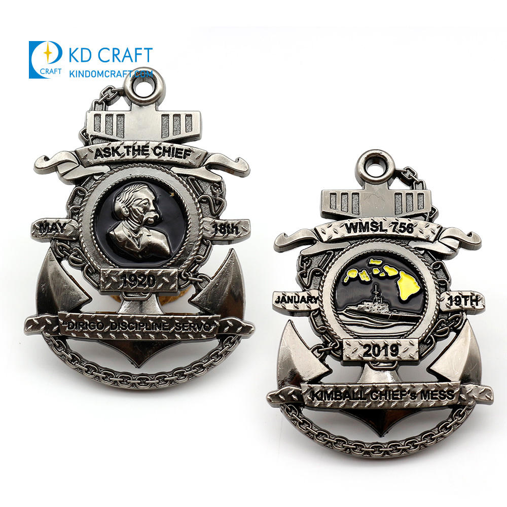 Wholesale china custom metal embossed 3d soft enamel military navy challenge coins for sale