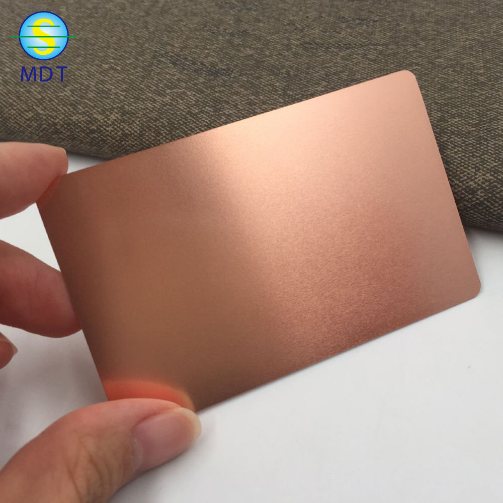 high quality with cheap price metal blank rose gold cards