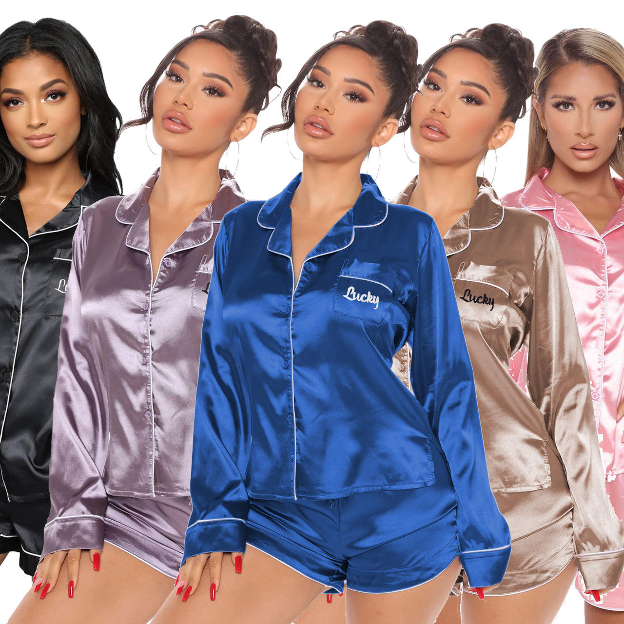 Wholesale Long sleeve Sleep Nightwear Contract solid Women 2 Pieces Set Pajamas Sleepwear satin pajama set