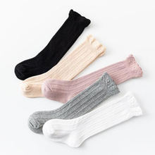 Wholesale stripe breathable washable warm knee high girls long cotton socks for babies and toddlers